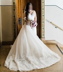 Justin Alexander Custom Beaded Lace Wedding Gown With Detachable Cathedral Train