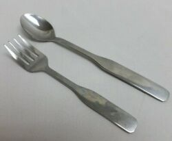 Vintage Sanitoy Stainless Steel Baby Fork And Spoon, Made In Korea, Good Used