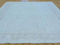 8and039 X 10and039 Hand Knotted Vintage Pale Soft 100 Percent Wool Oushak Oriental Rug