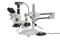 7x-45x Simul-focal Stereo Zoom Microscope On Boom Stand + Led Ring Light + 14mp