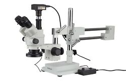 7x-45x Simul-focal Stereo Zoom Microscope On Boom Stand + Led Ring Light + 16mp