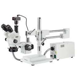 3.5x-90x Simul-focal Stereo Zoom Microscope + Fiber Optic Ring Light + 14mp Came