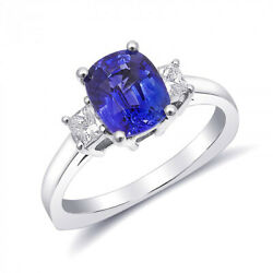 14K White Gold 2.5ct TGW Blue Sapphire and White Diamond One-of-a-Kind Ring