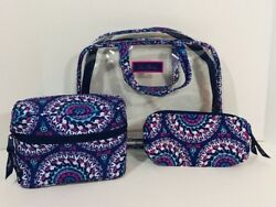 Vera Bradley Cosmetic Set Travel Bags Clear Makeup Navy Purple Elephants NWOT