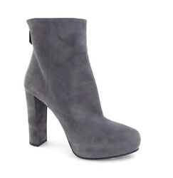 New PRADA Size 9 Buff Gray Platform Back Zip Mid Boots 40 Chunk Heel w dust bag