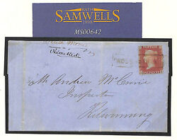 MS642 1856 GB SCOTS LOCAL Cancellation *CROSS STREET* Ayr Cover Kilwinning RARE