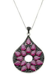 Rarities Carol Brodie Ruby Black Spinel Ss Necklace 1079