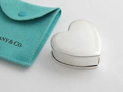 And Co Rare Silver Heart Cookie Tin Can Pill Box Container Case