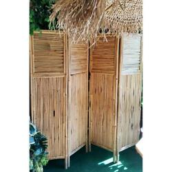 72 In. W X 72 In. H Bamboo Vintage foldable 4-Panel Privacy Protector Screen
