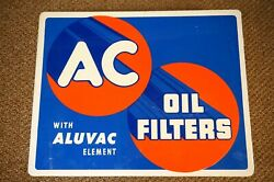 Nos Vintage 1950s Ac Oil Filters Double Sided Flanged Sign Gasoline Gas Service