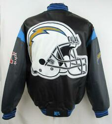 Los Angeles Chargers Mens Size Medium Or X-large Full Zip Leather Jacket Achg 41