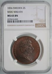 Sweden 2 Skilling 1836 Wide Wreath Ngc Ms65bn Charles Xiv John 1818 - 1844