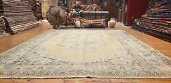 Primitive Antique 1900-1939's Muted Natural Dye Wool Pile Oushak Rug 6'2x8'7''