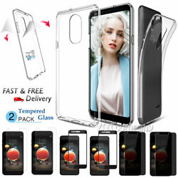 For LG Aristo 2Tribute Dynasty Shockproof Clear Rubber Hard Case+Tempered Glass