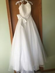 Wedding Dresses Alfred Angelo Size 12 Ballgown Bow Organza Lace Halter Top