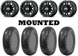 Kit 4 Cst Lobo Rc Tires 33x10-15 On Kmc Xs228 Machete Beadlock Black Wheels Vik