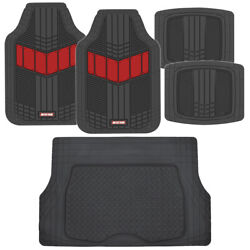 Motor Trend Flextough 2-tone All Weather Rubber Floor Mats 5 Pc Set- Red And Black