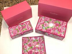 Nib Lilly Pulitzer Hotty Pink First Impression Glass Storage Boxes And Tray Set