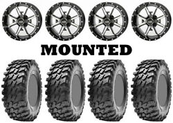 Kit 4 Maxxis Rampage Tires 32x10-14 On Frontline 556 Machined Wheels Pol