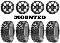 Kit 4 Maxxis Rampage Tires 32x10-14 On Frontline 556 Black Wheels Ter