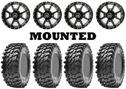 Kit 4 Maxxis Rampage Tires 32x10-14 On Frontline 556 Black Wheels Can