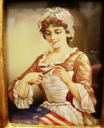 Vintage Rare Betsy Ross And Italian Portraits Miniature Painting Set Of 3
