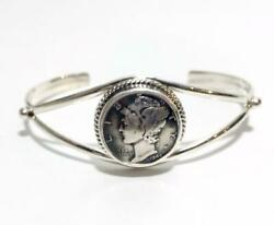 Native American Indian Jewelry Navajo Made By Ll Silver Coin Bangle 1943