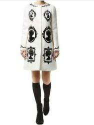 New Dolce And Gabbana Cameo Brocade Coat Size 42