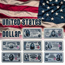 Wr 1891 Us 1-500 Dollar Note Bill Silver Banknote Art Bar Collection Set