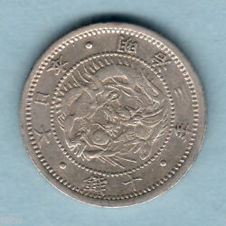 Japan. Yr-3 1870 10 Sen - Shallow Scales.. Trace Lustre.. Vf
