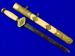 Antique Old China Chinese 19 Century Dagger Fighting Knife Dirk W/ Scabbard