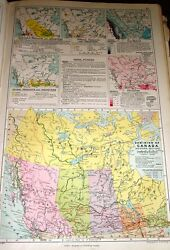 1909 MAP ~ DOMINION W. CANADA + FARM PRODUCTION & INDUSTRY CLIMATE MINERALS etc