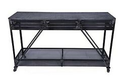 Indian Handmade Antique Style Wooden 3 Drawers Kitchen Trolley Cabinet Rack