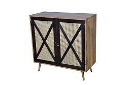 Indian Handmade Wooden And Net 2 Doors Sideboard Cabinet Storage Bedside Table