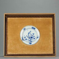 Unusual Framed 17c Antique Chinese Porcelain Ming Flowers Plate + Box[...