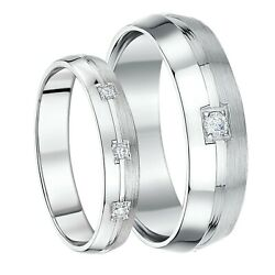 His And Hers 4and6mm 9ct White Gold Boxed Set Diamond Wedding Rings