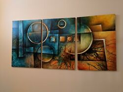 Michael A. Lang Original Acrylic 36 x 72 three (3) piece art with cert of auth