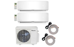 Klimaire 18000 BTU 2-Zone 9K-12K BTU 20 Seer AC Mini Split Heat 2X15FT Kit 220V