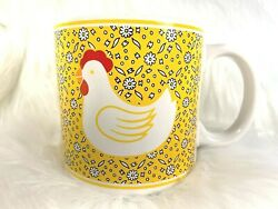 Vintage Chicken Hens Coffee Cup Mug Bright Yellow Daisies Made in Taiwan JSNY