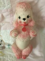 Antique Pink Poodle Toy Doll Figurine Figure Cute Rare Collectible Rubber Rare