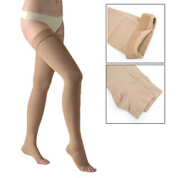20-30mmhg Thigh High Compression Therapeutic Open Toe Silicone Band Stockings