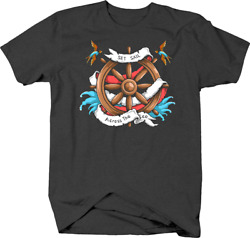 Set Sail Across the Sea with Ship Wheel Helm Water and Birds Tshirt