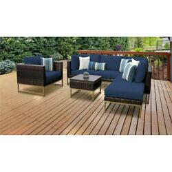 Amalfi 7 Piece Wicker Patio Furniture Set 07f In Gold And Navy
