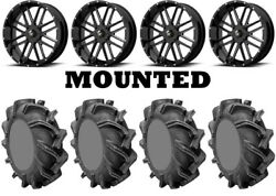 Kit 4 High Lifter Outlaw 3 Tires 35x9-20 On Msa M35 Bandit Black Wheels Can