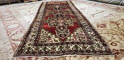 Exquisite Antique 1930-1940s Henna Dye 4and0396andtimes 13and039 Wool Pile Runner Rug