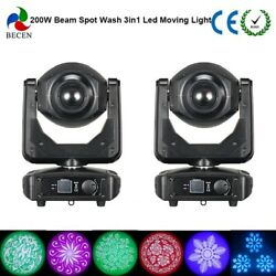 2pcs 200W Zoom LED Moving Head Lights Beam Spot Wash 3in1 Rainbow Effect in US