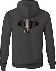 Zip Up Hoodie Grey Elephant Good Luck Hooded Sweatshirt