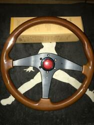Momo Handle Car Parts Rare Wood Wooden Brown Red 36 Red Silver Used Vintage F/s