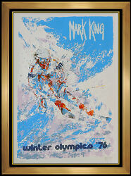Mark King Winter Olympics Color Serigraph Signed Downhill Snow Skiing Artwork