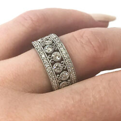 0.85 Ctw Natural Diamond Solid 14k Gold Wide Stackable Paisley Filigree Ring 9mm